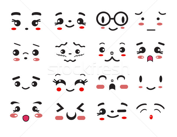 kawaii cute smile emoticons and japanese anime emoji Stock photo © Margolana