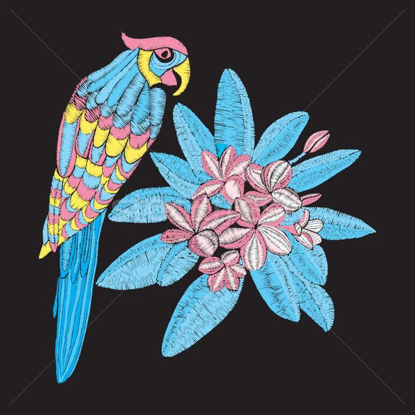 Vetor padrão papagaio flor bordado folhas Foto stock © Margolana