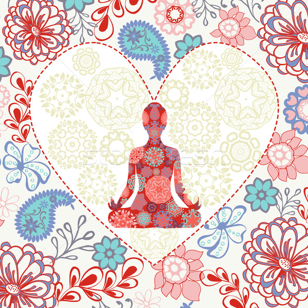 beautiful background with  lotus position yoga in heart shape Stock photo © Margolana