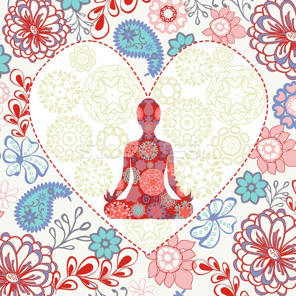 Stok fotoğraf: Güzel · lotus · pozisyon · yoga · kalp · şekli · süs