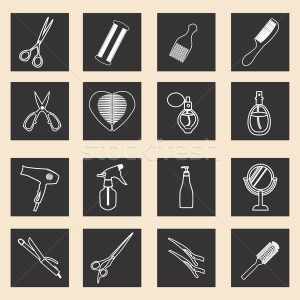 icon set of haircutting tool icons  outlined  Barbershop objects Stock photo © Margolana