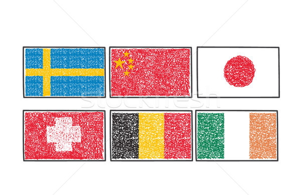 flags of the world icon in cartoon scribble style Stock photo © Margolana