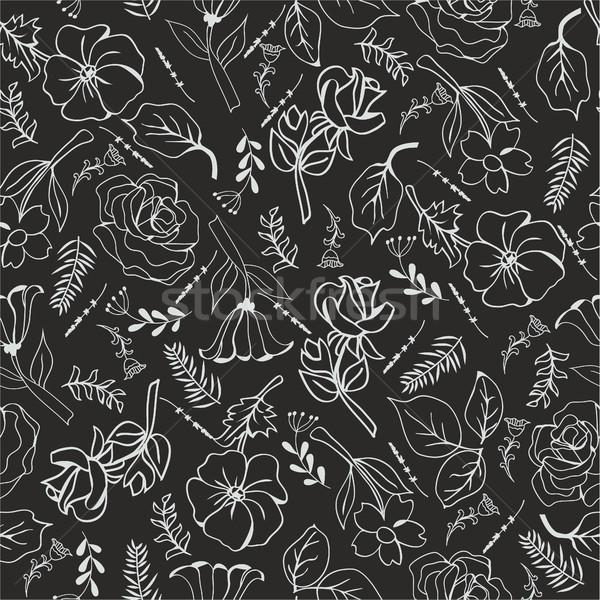 Vetor monocromático flores preto padrão coleção Foto stock © Margolana
