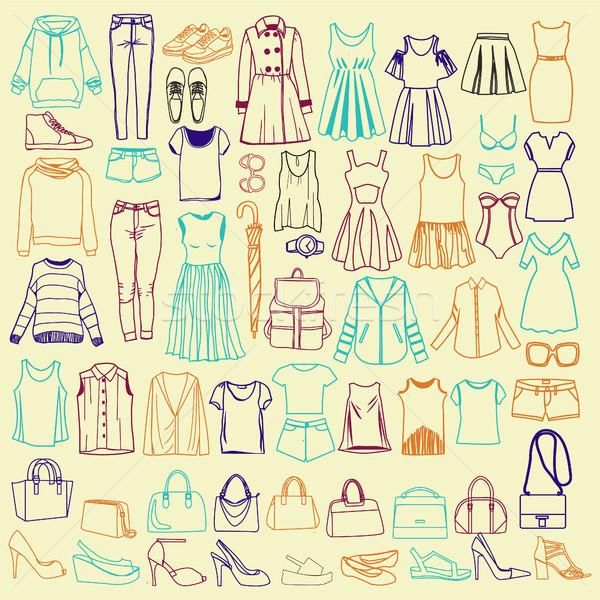 ストックフォト: ファッショナブル · 女性 · 服 · ベクトル