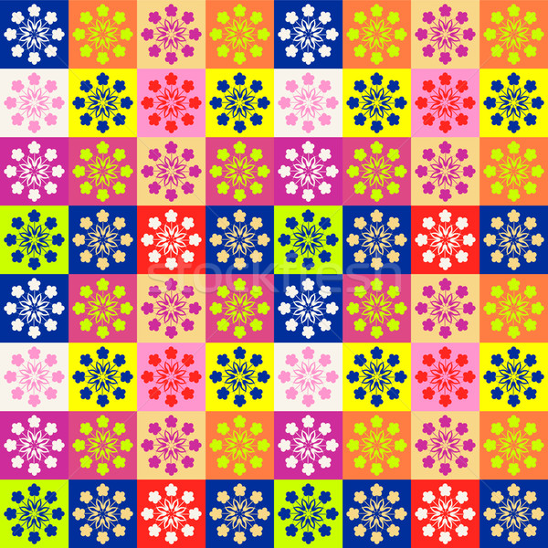 Background with squares and flowers different colors. Stock photo © Margolana