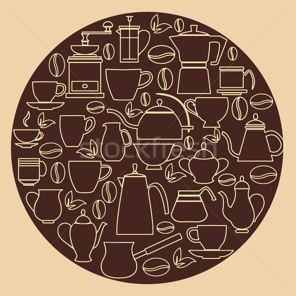 Linéaire design illustration ensemble café silhouette Photo stock © Margolana