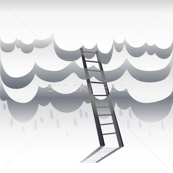 Létra vezető égbolt papír fehér felhők Stock fotó © Margolana