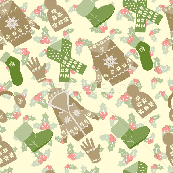 winter clothes and accessories and holly berries background Stock photo © Margolana