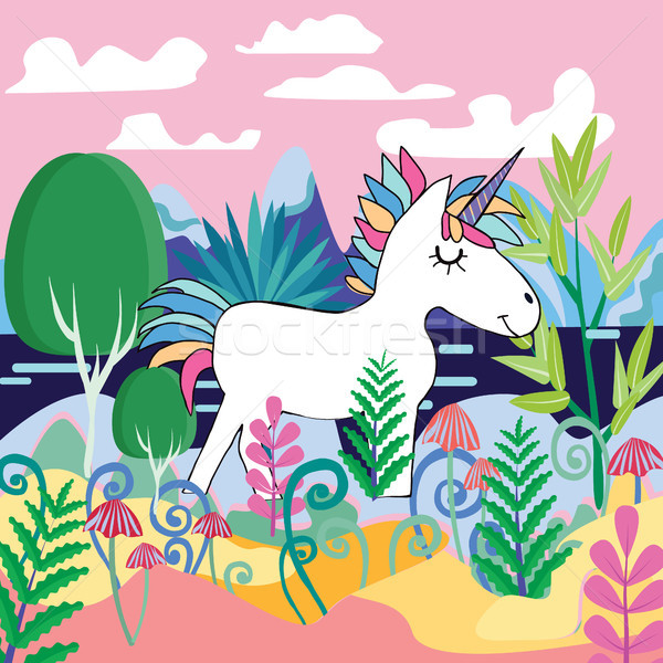 Beautiful magic forest scene with Cute Magical Unicorn Stock photo © Margolana