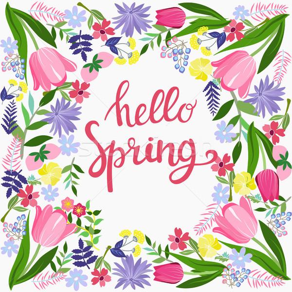 Bonjour printemps carte de vœux design fleurs texte Photo stock © Margolana