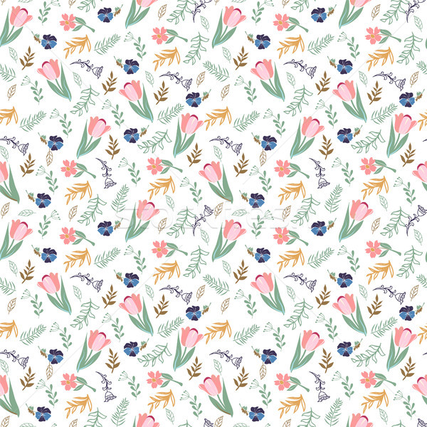 seamless pattern with tulips and wild flowers Stock photo © Margolana