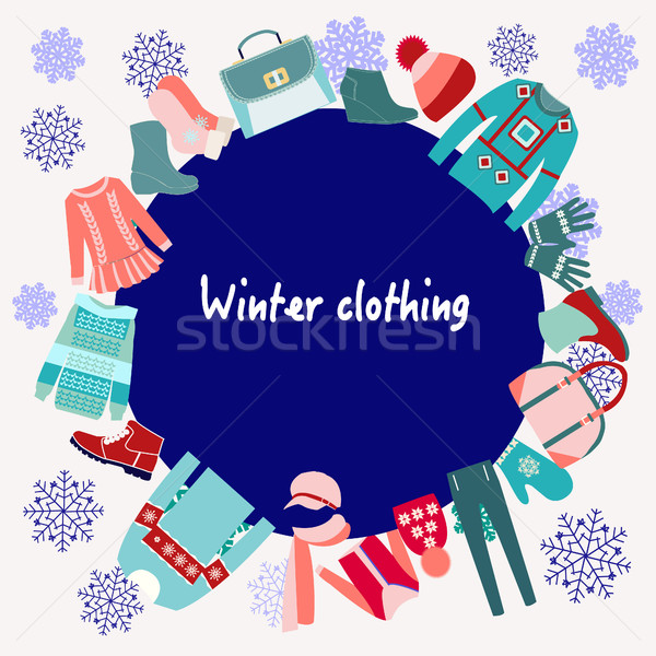 22bf75acffc2 Winter Clothing collection Background Stock photo © Margolana