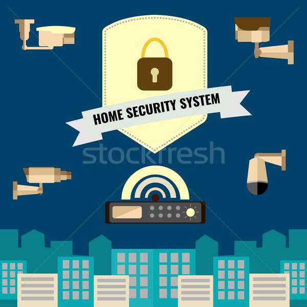Home veiligheid cctv ontwerp ingesteld Stockfoto © Margolana