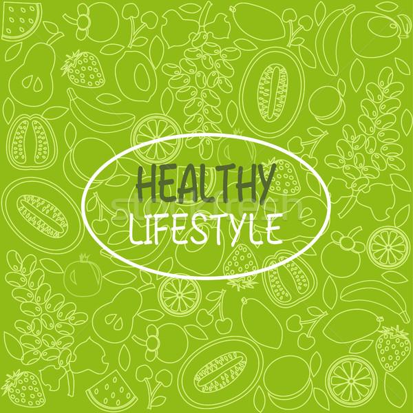 Sağlıklı gıda poster afiş meyve vektör Stok fotoğraf © Margolana