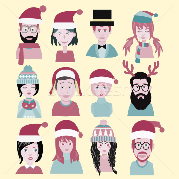 man and woman in the santa hat. Men and women winter warm knitte Stock photo © Margolana