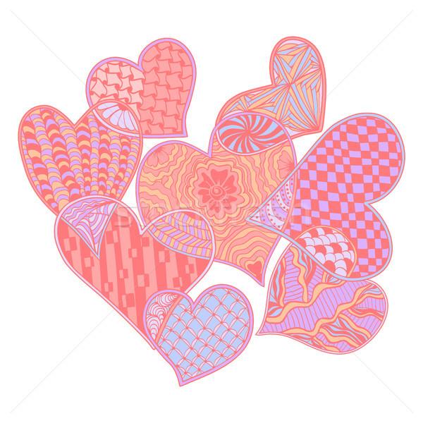 pattern of hearts ornate zentangle style decorative symbol. Stock photo © Margolana