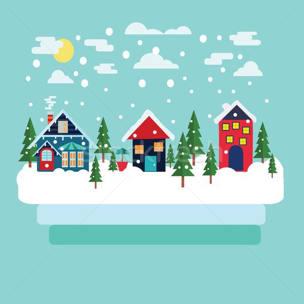 Сток-фото: веселый · Рождества · зима · стране · пейзаж