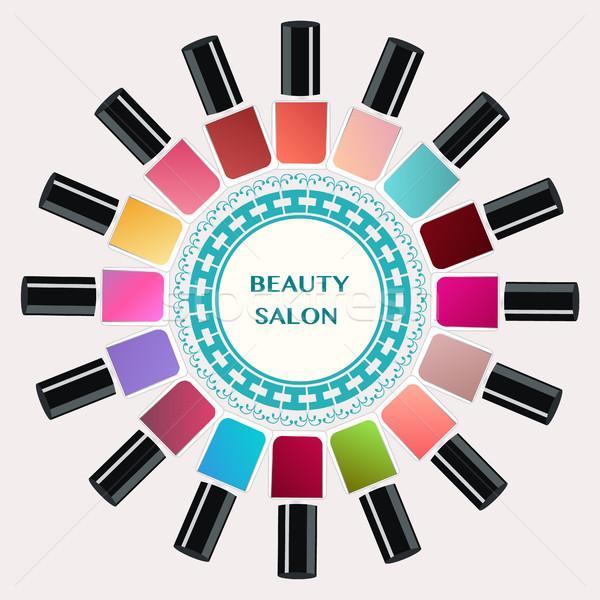 Kleurrijk nagellak flessen vector ingesteld nagels Stockfoto © Margolana