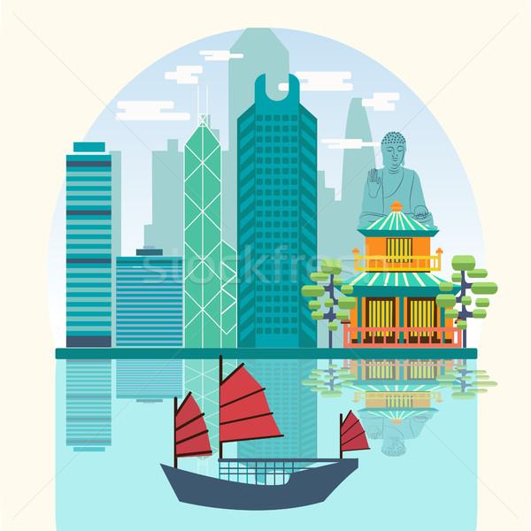 Wektora podróży panoramę port turystycznych dżonka Zdjęcia stock © Margolana
