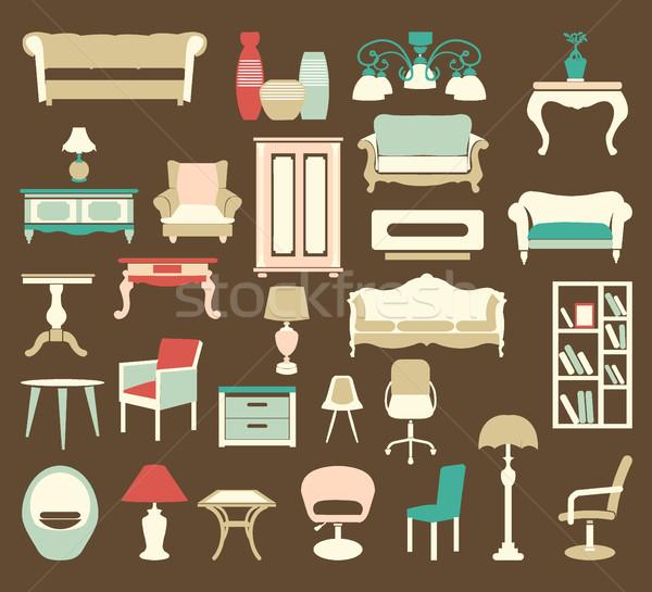 Retró stílus bútor ikonok sziluettek szett belső Stock fotó © Margolana
