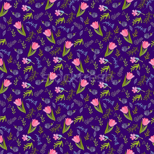 Patrón tulipanes flores silvestres elegante fondo Foto stock © Margolana