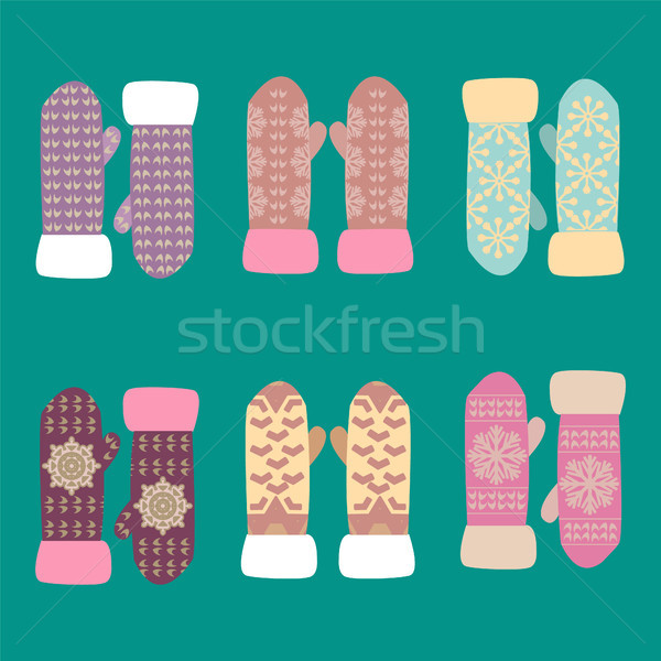 collection of different knitted  winter mittens with snowflakes  Stock photo © Margolana