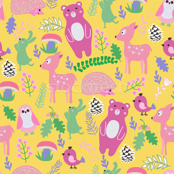 pattern with cute cartoon forest animals baby shower background. Stock photo © Margolana