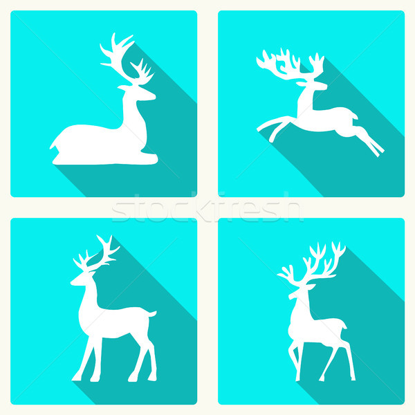 set of silhouette deer vector illustration Stock photo © Margolana