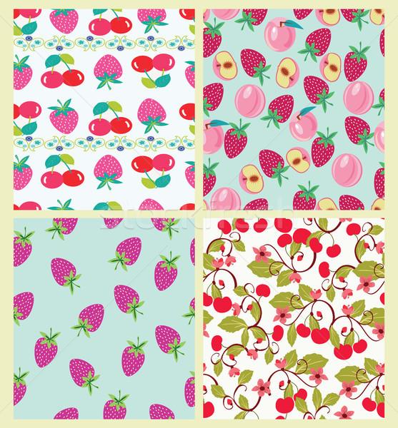 Vector establecer patrón melocotón cerezas fresas Foto stock © Margolana