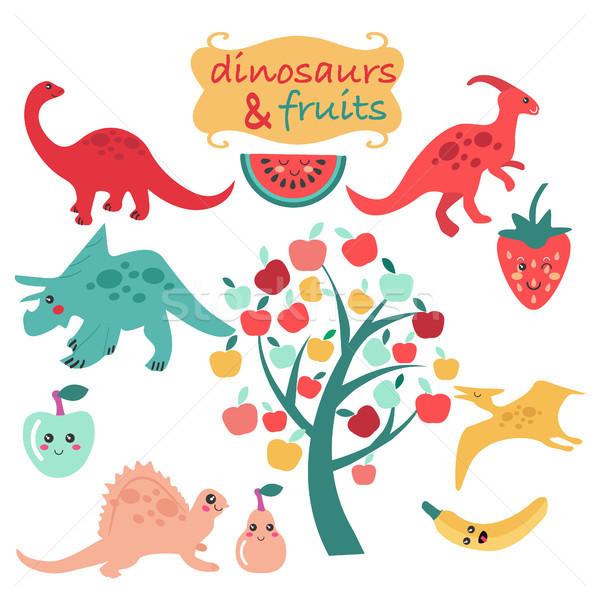 Cute zestaw dinozaury owoce arbuz jabłko Zdjęcia stock © Margolana