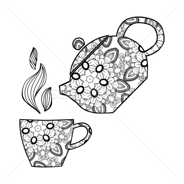 illustration of teapot and cup for coloring book. Stock photo © Margolana