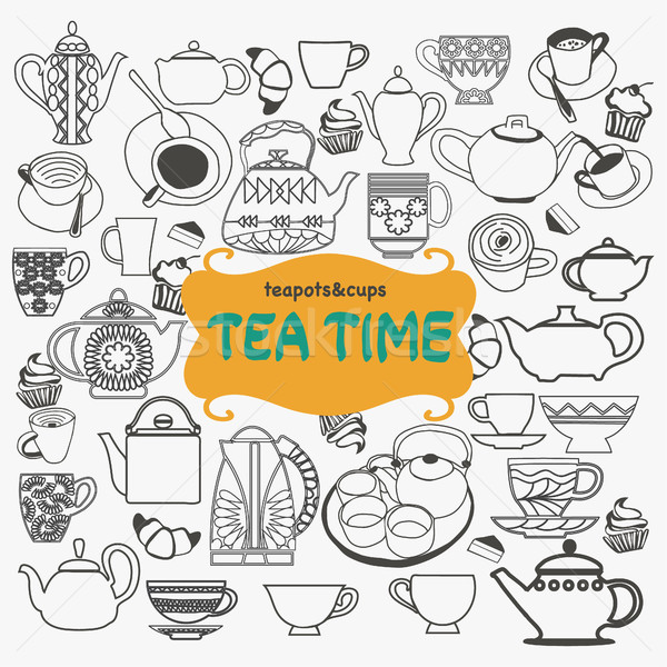 Stock photo: Hand drawn set of tea objects on white background.