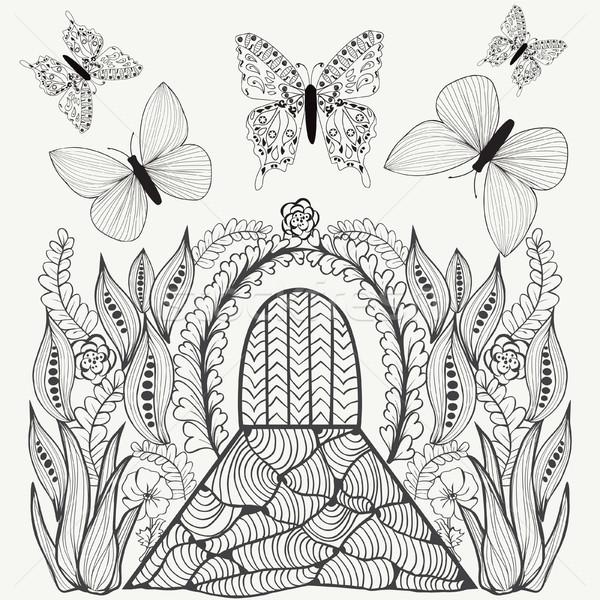 Fantasy picture. Flowers, butterflies and door. Stock photo © Margolana