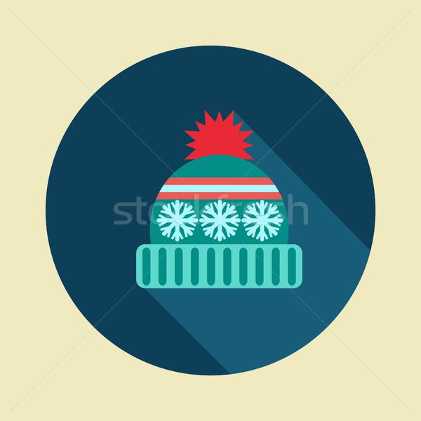 Inverno Hat icona vettore lungo ombra Foto d'archivio © Margolana