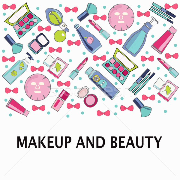 Vector pattern of Make-Up, beauty and healthy cosmetic product  Stock photo © Margolana