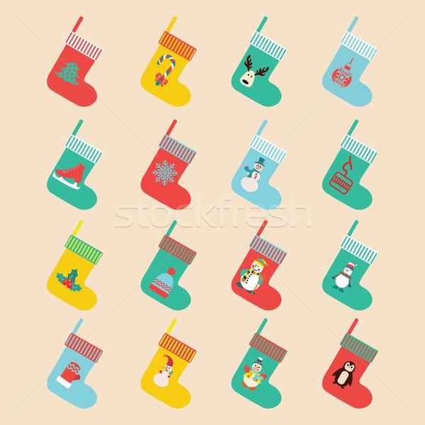 Design Natale calze vettore inverno Foto d'archivio © Margolana