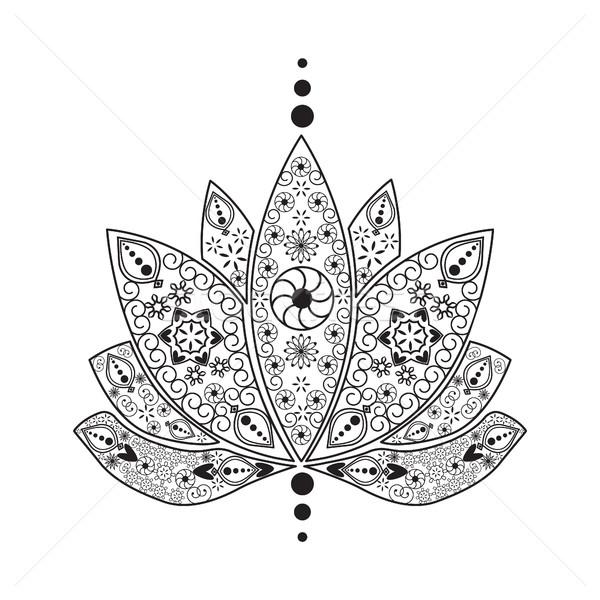 Hand gezeichnet Tattoo Element Henna indian Lotus Stock foto © Margolana