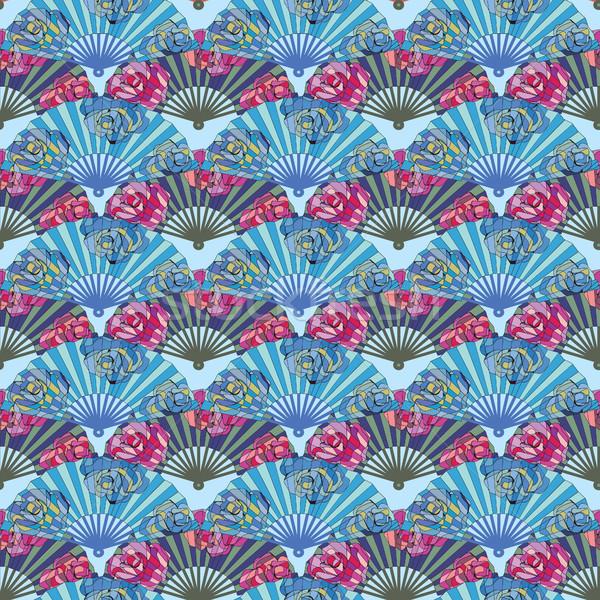 カラフル オリエンタル ファン 装飾された バラ ストックフォト © Margolana