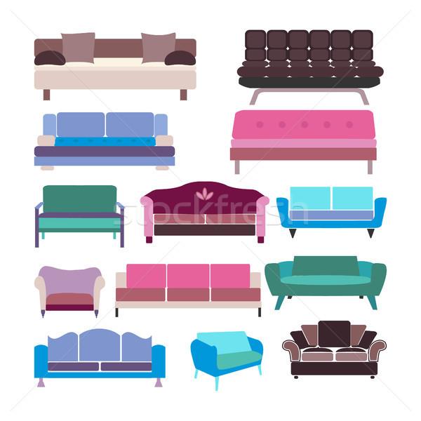 Vettore divano set colorato raccolta isolato Foto d'archivio © Margolana