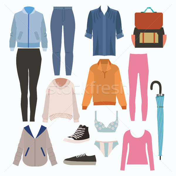 Lady fashion set of autumn season outfit. Illustration stylish a Stock photo © Margolana