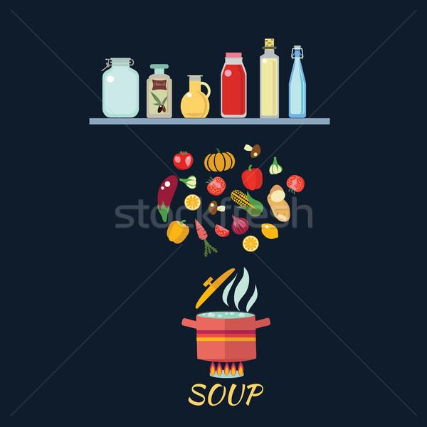 Koken groenten gekookt water schaal heet water Stockfoto © Margolana