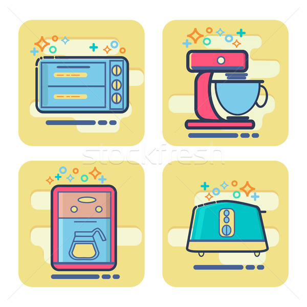 Zestaw cartoon domu urządzenie ikona wektora Zdjęcia stock © Margolana