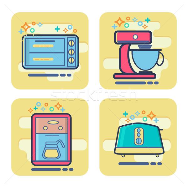 set of cartoon home appliance icon.  Stock photo © Margolana