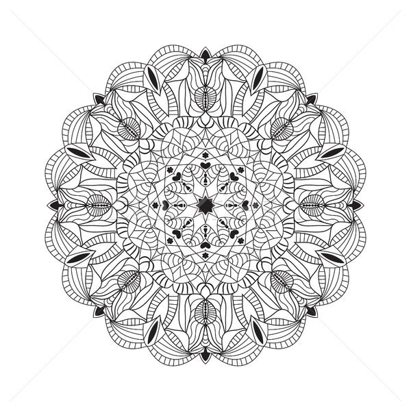 Hermosa negro mandala vector étnicas Foto stock © Margolana