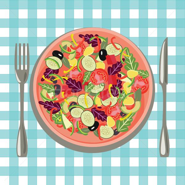 Gezonde vers voedsel plaat groenten tabel doek Stockfoto © Margolana
