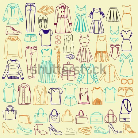 Clothes and accessories Fashion icon set. Men and women clothes  Stock photo © Margolana