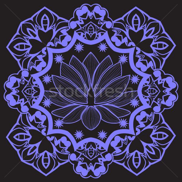 Wektora mandala indian Lotos piękna kwiat Zdjęcia stock © Margolana