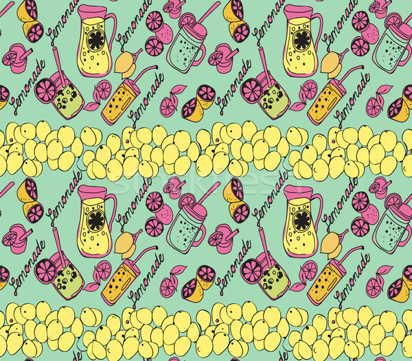 Summer background with jug of lemonade, slices of lemons illustr Stock photo © Margolana