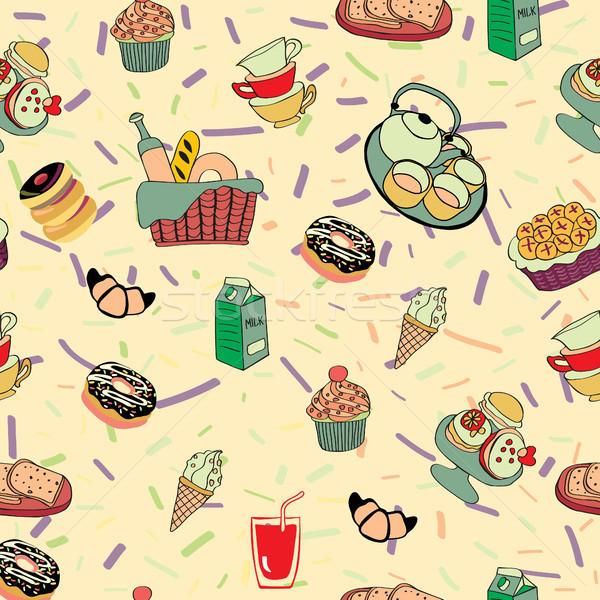 Cartoon alimentaire boissons modèle drôle Photo stock © Margolana