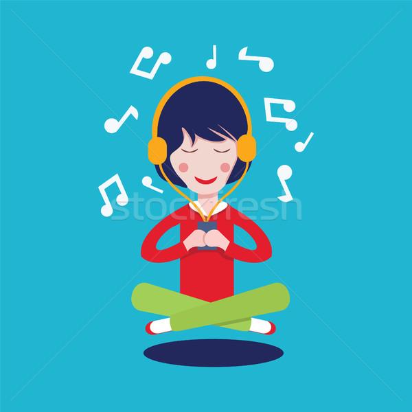 Ragazza felice cuffie ascoltare musica cartoon pretty woman musica Foto d'archivio © Margolana